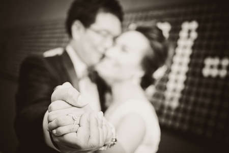 wedding, bride and groom together close up ring Stock Photo - 15008091