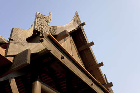 gable house: wooden triangle gable, Thai style house triangle gable made from real wood