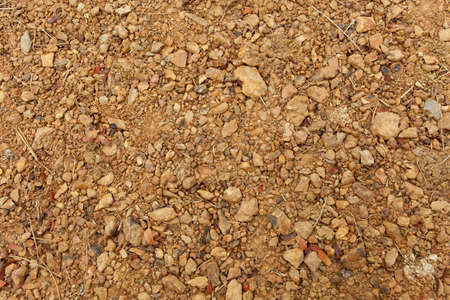 soil texture, brown ground soil texture mixed with small rocks photo