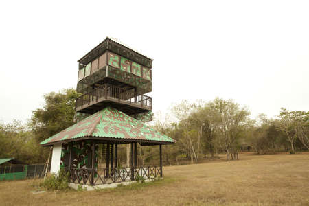 sentry: observation tower, camouflage printed animal observation tower in the wood