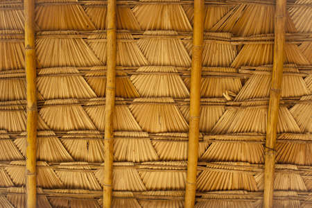 natural roof, detail of weave bamboo and palm leaf roof texture