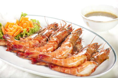 roasted shrimp, orange prawns roasted grill dish with Thai spicy sauce