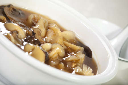 shark fin soup, Chinese style shark fin soup with mushroom and spices photo