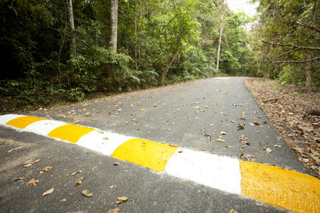 speed bump, yellow and white strip speed bump