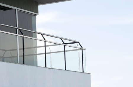 balcony view: balcony, building balcony construction made of mirror glass and iron Stock Photo