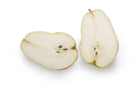 two and a half: half pear, two pieces of cut pear fruit isolated on white background