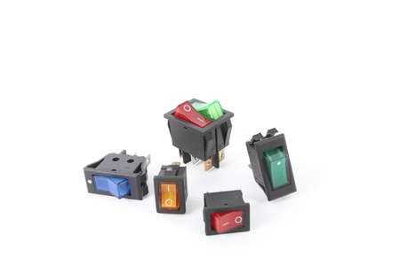 switches, colorful service switch electronic part Stock Photo