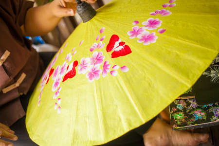 umbrella painting, Thai lanna style paper umbrella flower painting handmade photo