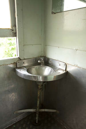 train toilet, stainless local made toilet ware in Thailand train bogie bathroom photo