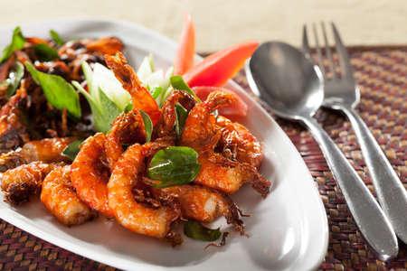 prepared food: Thai food, Thai food shrimp in orange sweet and spicy herb sauce