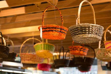 rattan: rattan basket, hanging basket in supermarket for flower decorating Stock Photo