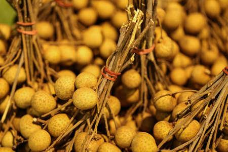 medium size: longan fruit, medium size of Longan fruit in basket selling at the market