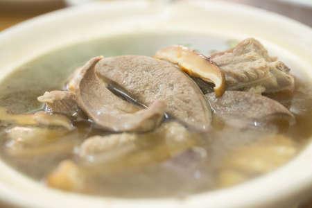 Bak kut teh, Meat bone tea in Hokkien Chinese style of soup called Bak-Ku-Teh photo
