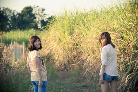 sugar cane farm: sisters in nature, female Asian sisters happy together in sugar cane farmsisters in nature, female Asian sisters happy together in sugar cane farm