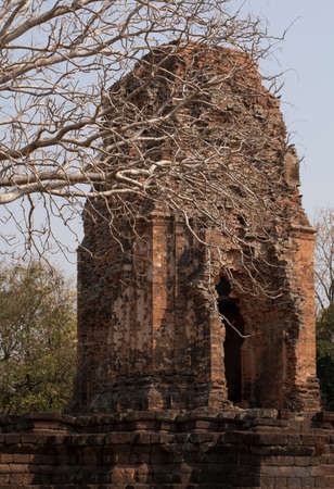 leftover: historical building, the leftover of laterite building in historical park, Thailand Stock Photo