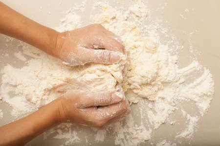 pasta: Pasta Homemade a female hand threshing flour making pasta homemade Stock Photo