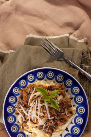 fettuccine: Bolognese pasta, bolognese pasta sauce beef with fresh fettuccine pasta Stock Photo
