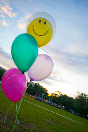 green smiley face: balloon, colourful balloon with smiley face on the yellow one at the green yard