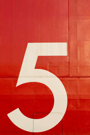 big five: number 5, The big white number five on red metal wallpaper