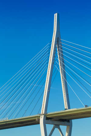 cable bridge: Cable bridge, Technology of many cable string stretching with the main tower under the blue sky