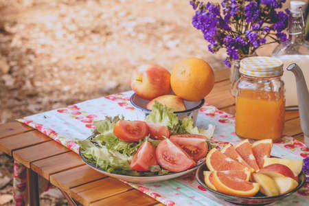picnic, view of picnic table with fruits, juice and vegetable at the camping area