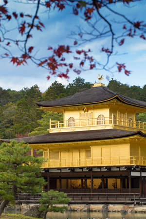 closer: Kinkakuji Temple, closer view showing building of golden Kinkaku-ji Temple, Japans heritage, Kyoto, Japan