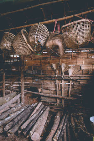 well made: An ancient offshore salt well equipment hanging in the home made factory Bor-Klauer District, Nan, Thailand