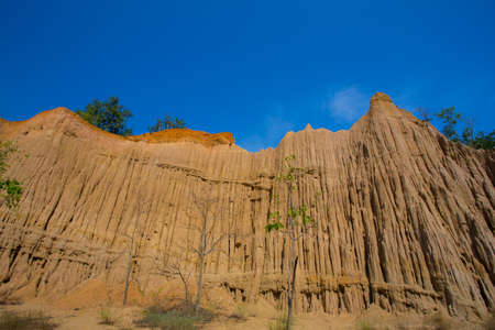 Land Texture with plant of soil erosion called earth pillar in Nan, Thailand