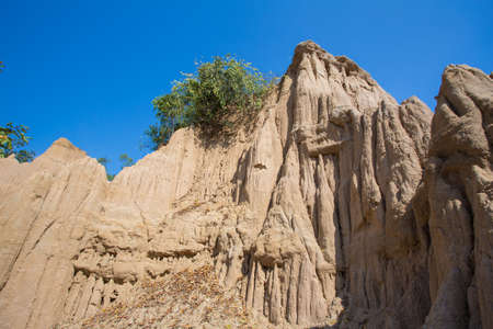 soil erosion: Texture of soil erosion called earth pillar in Nan, Thailand