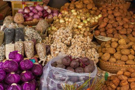 vegtables: Various raw vegetable on shelf selling at the fresh market, Dalat, Vietnam