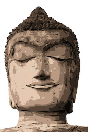 A vector photo of Buddha Statue face in brown color, Thailand.