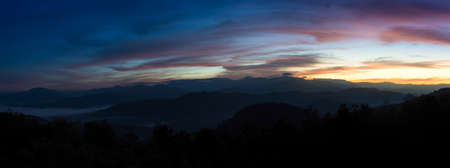 Panorama view from the highest mountain peak of Chiang Dao with beautiful cloudy sunset twilight sky, Chiang mai, Thailand