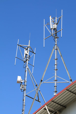 Antennas of cellular and communication systems. Stock Photo