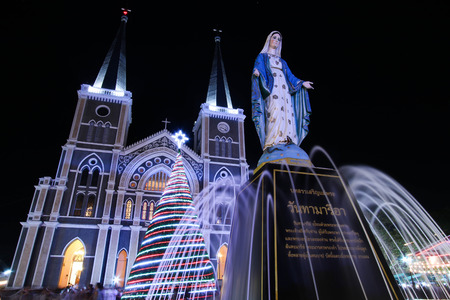 CHANTHABURI, THAILAND - DECEMBER 25, 2016 : Merry Christmas, The Catholic Church (Maephra Patisonti Niramon) at night.
