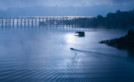 Wooden bridge of Sangklaburi in Kanjanaburi province,Thailand.