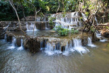 Noppiboon Waterfall in Sangkhlaburi District, Kanchanaburi Province, Thailand. Stock Photo