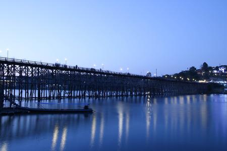 Wooden bridge of Sangklaburi in Kanjanaburi province,Thailand, At night.