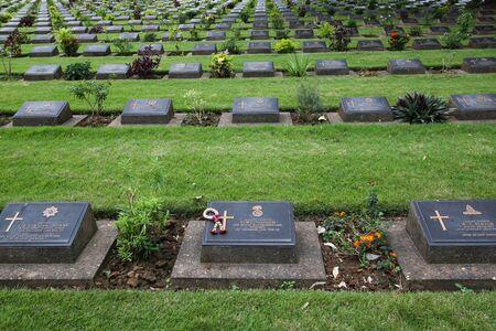 KANCHANABURI, THAILAND - January 1, 2017: Chungkai War Cemetery in Thailand, Graveyard for soldiers and captives in the Kwai river bridge (Death Railway). Editorial
