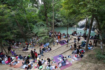 Kanchanaburi, THAILAND - January 1, 2017 : Erawan national park, most famous tourist place of the western area.