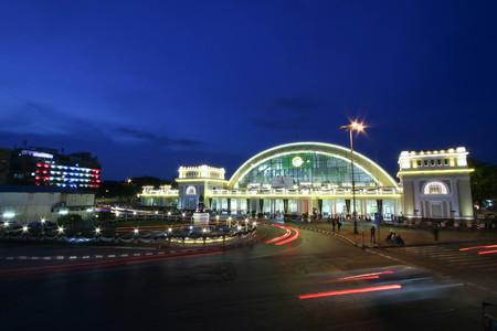 gloaming: Bangkok, THAILAND - January 2, 2017 : Bangkok Railway Station (Hua Lamphong Railway Station, MRT).