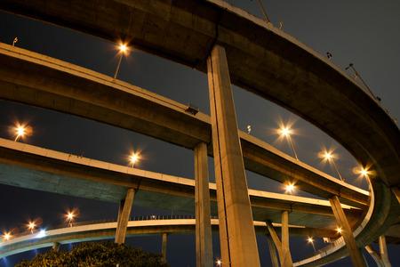 BANGKOK, THAILAND - JULY 1, 2017 : Bhumibol Bridge in Thailand,The bridge crosses the Chao Phraya River twice.