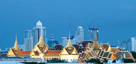 BANGKOK, THAILAND - JULY 2, 2017 : Wat Phra Kaew, Temple of the Emerald Buddha, Grand palace at twilight. Editorial