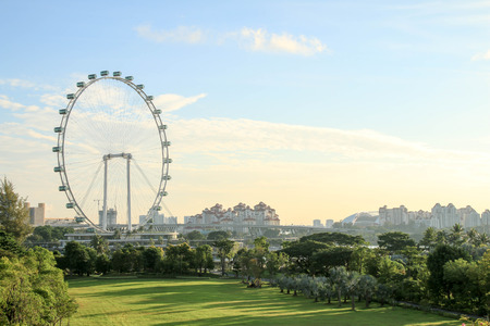 Singapore - JULY 10, 2017 : Singapore Flyer at morning - the Largest Ferris Wheel in the World.