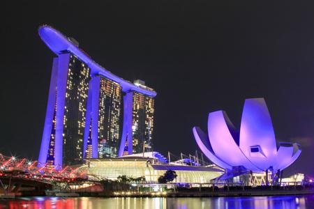 SINGAPORE - July 9, 2017 : Marina Bay Sands at twilight.