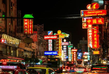 YAOWARAT, BANGKOK, THAILAND - 29 JULY, 2017 : Night at Yaowarat road, the main street of China town Bangkok.