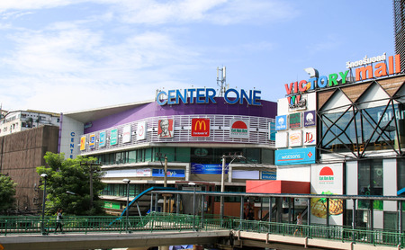 BANGKOK, THAILAND - JULY 30, 2017 : Center one & Victory mall, View of the Victory Monument the big military monument. Editorial