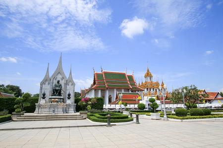 Bangkok, Thailand - July 30, 2017 : King Rama 1 Phra Phutthayotfa Chulalok (Rattanakosin) statue at Loha Prasat Pagoda (Metal Castle or Iron Temple) in Wat Ratchanatdaram.