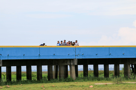 PHATTHALUNG,Thailand : August 12, 2017 : Tourists taking pictures on Chaloem Phra Kiat 80 Phansa bridge.