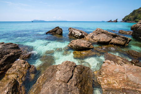 sea and rock stones at Bruer island in Myanmar. Stock Photo
