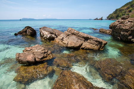 sea and rock stones at Bruer island in Myanmar. Stock Photo - 97515728